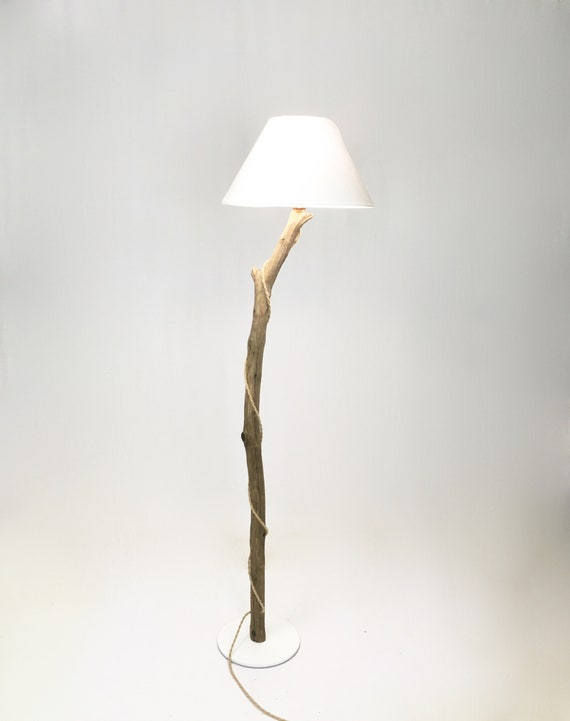 Unique branch floor lamp with white lampshade, cloth cable
