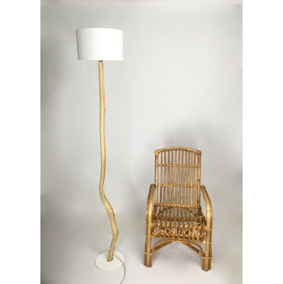 RESERVED pepperibuffo ** Unique wooden floor lamp with lamp shade, cloth cable