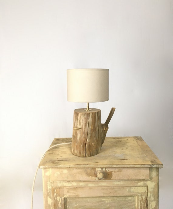 Bed side lamp, weathered wood branch with cotton lamp shade