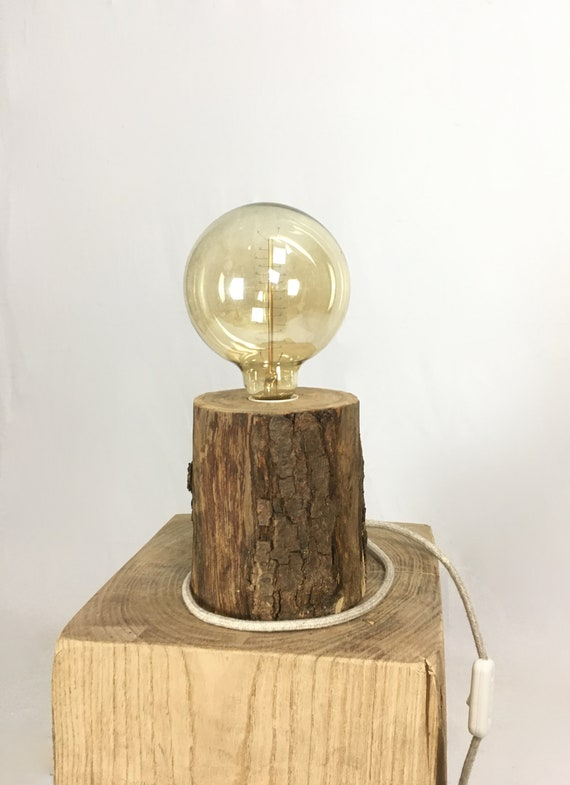 Wooden Edison lamp with bark and linen cloth cable