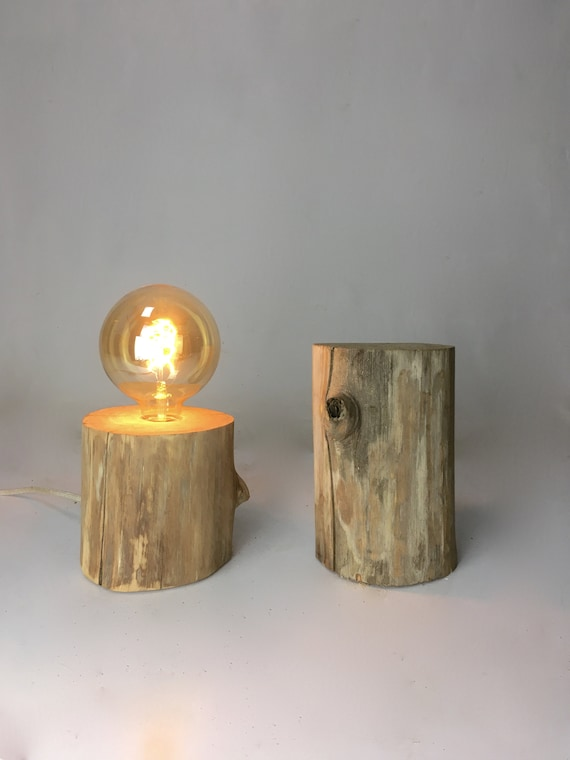 Big wooden Edison lamp (chestnut) with cloth cord