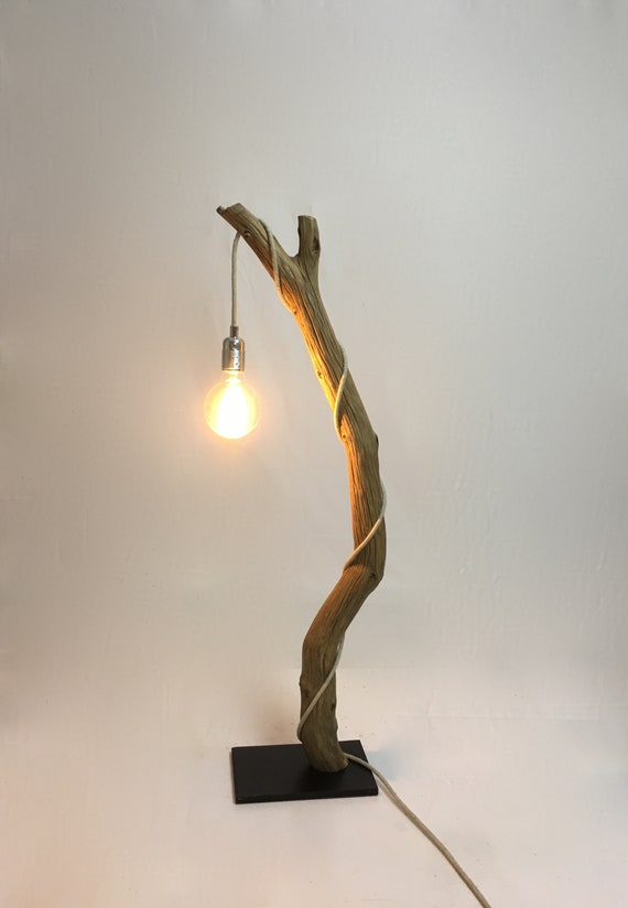 Table lamp with a beautiful weathered oak branch, cloth cable and  edison vintage bulb