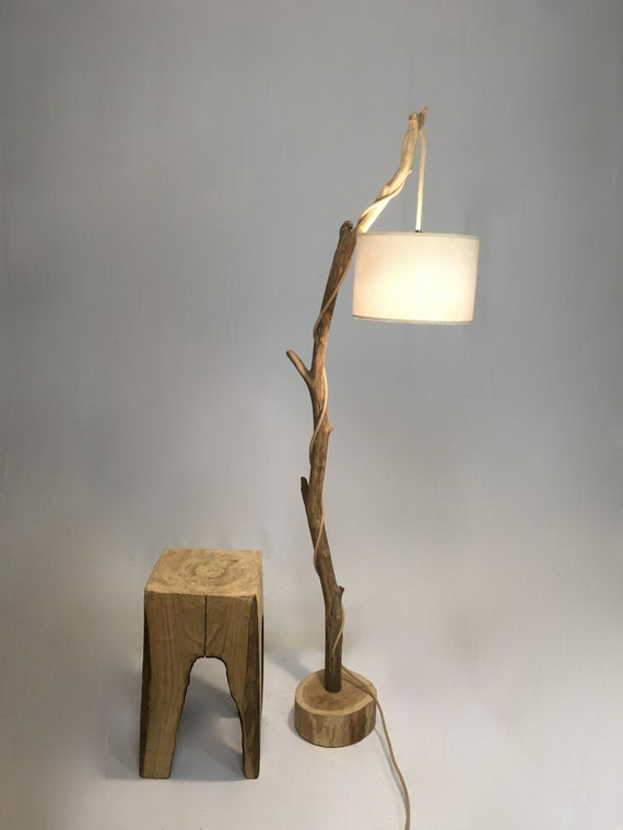 Old branch floor lamp with lamp shade and jute cable