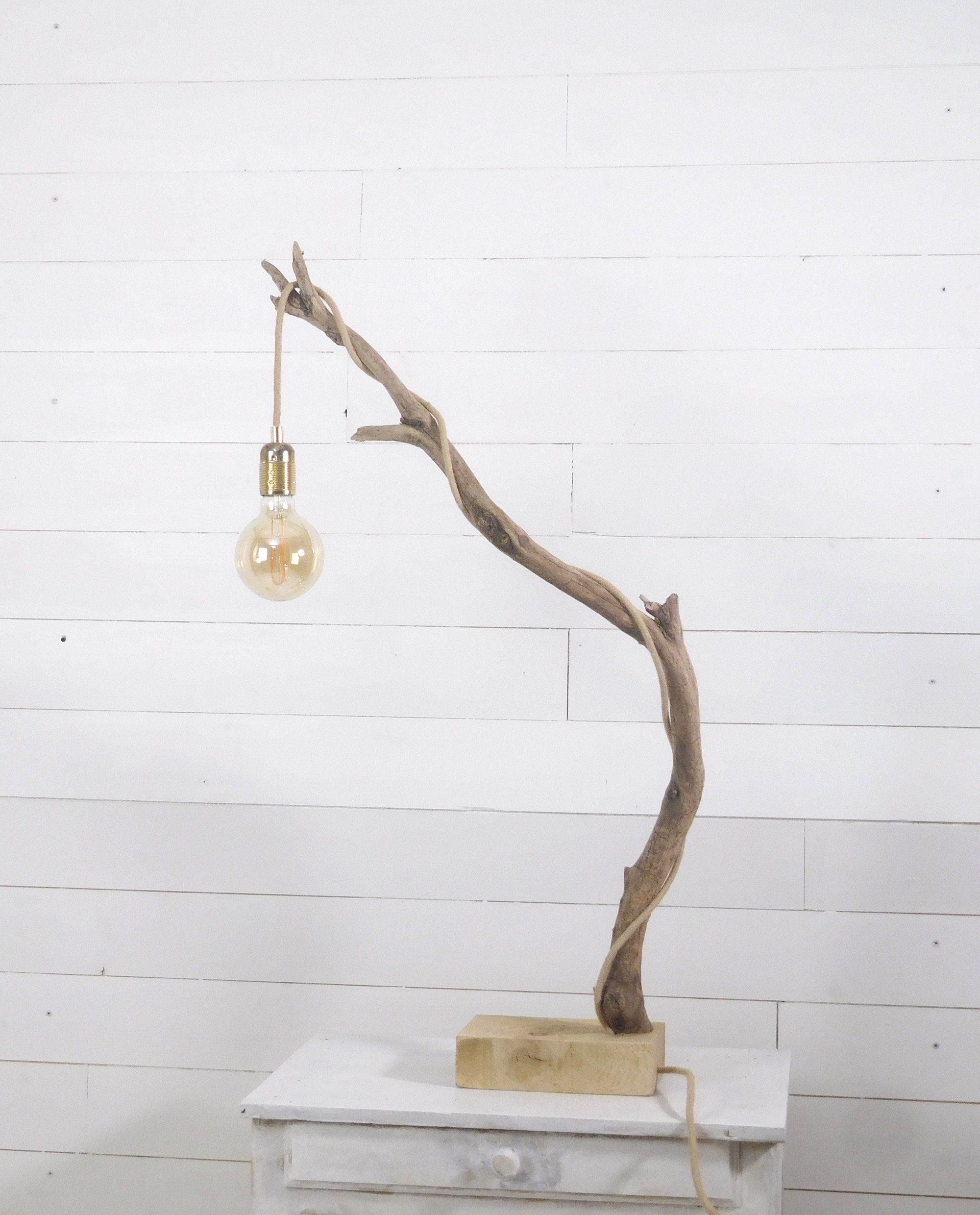 Driftwood Lamp Table Branch Lamp With Edison Bulb