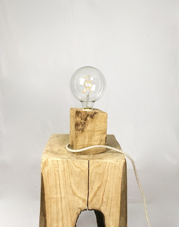 Large Edison wood lamp with very old wood