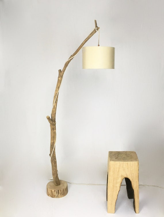 Old branch floor lamp with cotton lamp shade and cloth cable