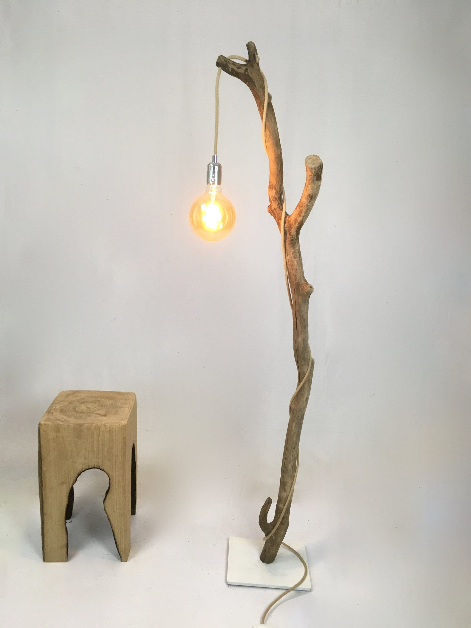 Beautiful Driftwood Floor Lamp With Cloth Cable And Vintage Bulb