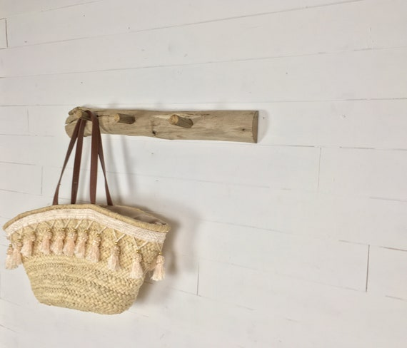 Wooden wall hook for hanging clothes, hats and baskets