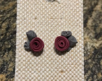 Polymer Clay Earrings. Rose Earrings. Neutral Color Earrings. Hand-crafted Earrings. Spring Collection. Canada