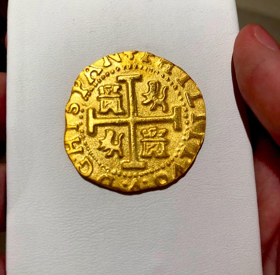 Reproduction Peru 1708 Gold 8 Escudos 1715 Plate Fleet Shipwreck Gold 22kt  Plated Doubloon Treasure Pirate Coin