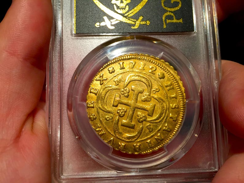 Spain 1712 Gold 8 Escudos Rare Philip V PCGS 58 Doubloon Cob Shipwreck  Treasure Pirate Gold Coins