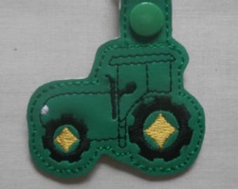 Tractor Green Embroidered Key Ring