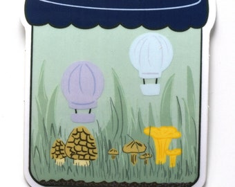 Clear terrarium jar sticker -- sticker -- clear sticker