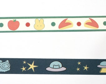 Washi tape -- choice of one -- apple bunny -- apple -- rabbit -- space cat -- UFO cat