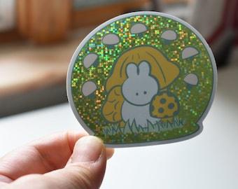 Glitter mushroom and rabbit sticker -- glitter effect -- sticker -- mushrooms -- rabbit