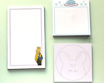 Hand-made notepads -- choice of 1 -- rabbit -- moon rabbit -- UFO cat -- notepads -- memopads -- stationery