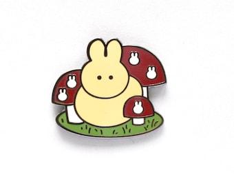 Mushroom bunny enamel pin -- hard enamel pin -- mushroom -- bunny