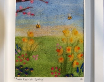 Handmade Busy Bumble Bees Needle felted Art Painting