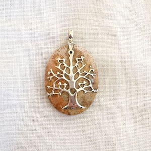 Jellyfish jewellery Statement necklace Coral pendant Designer Jewellery Coral Fossil Jellyfish necklace Fossil jewlery