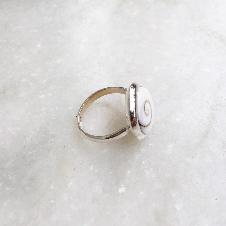 925 Sterling Silver Shiva Shell Ring Handmade Ring Statement Spiritual Ring Shiva Eye Ring Bohemian Gift For Her Healing Crystal Shell