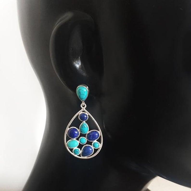 Lapis Lazuli Earrings Blue Lapis Earring Turquoise Earring Lapis Earrings Silver Gemstone Earrings 925 Sterling Silver EarringTurquoise