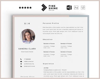 Resume template word with photo | Creative cv template | Instant digital download |Resumes Templates | Modern with image photo