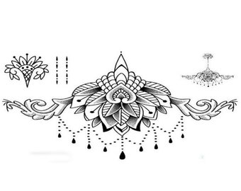 517f7928d Mandala Temporary Tattoo Large Black Henna Arabic For Underboob Chest  Sternum Back Waterproof Body Art Womens Sexy!