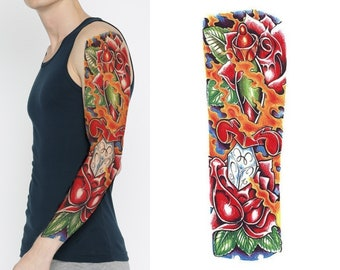 full arm sleeve realistic temporary tattoo sleeve buddha