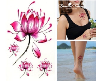 389475ccacad0 Pink Lotus flower temporary tattoos, set of 4, ear, neck, ankle, finger,  flower, fake tattoo sticker transfer, mens, womens, kids