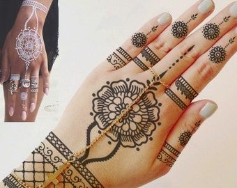 5296a90a98f04 Henna temporary tattoo sticker transfer - Black henna, White henna, Flower  Pendant, daisy,, lace, hand, foot. Womens, girls fake tattoo