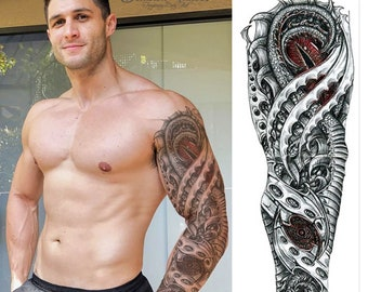 cdfd0f9e5 Full arm sleeve realistic temporary tattoo, Eye of the dragon 3D  mechanical, robotic, fake tattoo sticker transfer, mens, womens