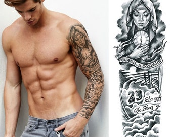 fe13160a9 Full sleeve realistic temporary tattoo, Beckham, angel, 23, Real Madrid,  black ink, arm, sticker transfer, mens, womens, kids