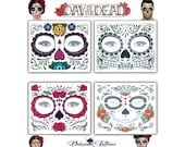 Day of the Dead Sugar Skull Mask Face Temporary Tattoo Sets - 4 Designs - Mexican Halloween Fancy Dress Party Festival Mens Womens Kids