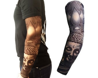 508dcf75e Full sleeve realistic temporary tattoo nylon stocking arm warmer Buddha  Tribal Black Mens Womens Kids Cycling Sports Fancy dress