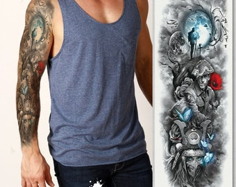2c25a9380 Full sleeve realistic temporary tattoo, war, peace, butterfly, soldier,  birds, tree, black ink, arm, sticker transfer, mens, womens