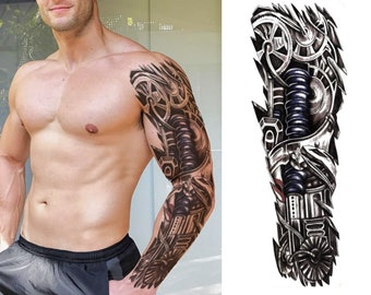 20c9cc049fb50 Full arm sleeve realistic temporary tattoo, Mechanical, metal, robot,  terminator, 3D arm, fake tattoo sticker transfer, mens, womens