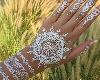 0beda8a1d Henna & Lace realistic temporary tattoo, mandala, ornament, mehndi, sticker  transfer - Womans, girls fake tattoo, black or white