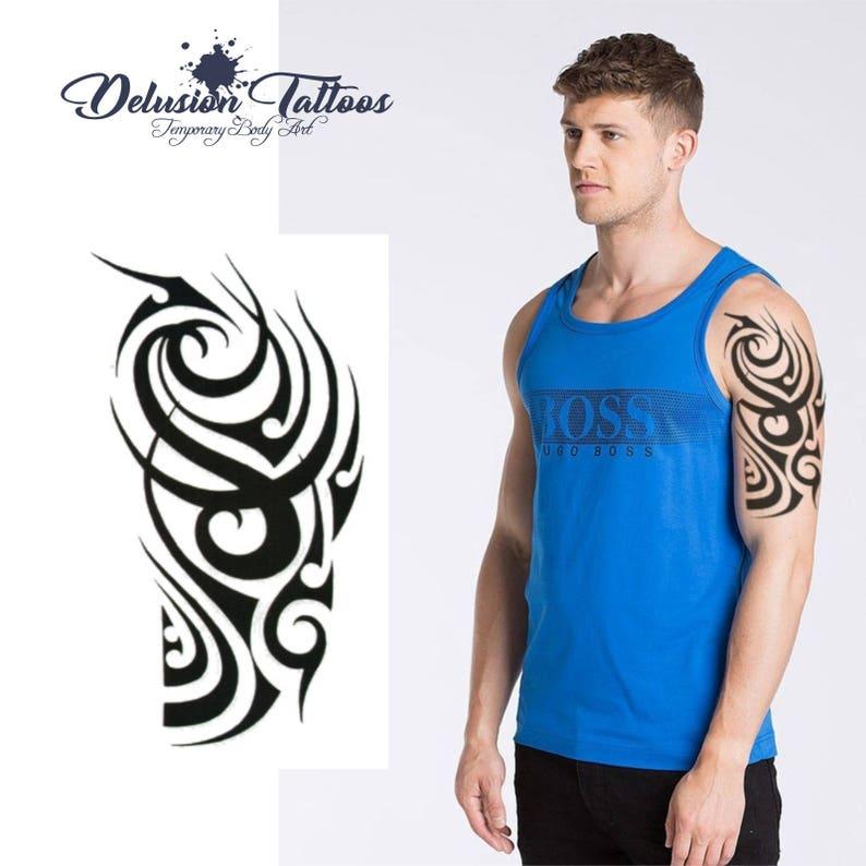 805265b4 Classic tribal temporary tattoo black shoulder half sleeve | Etsy