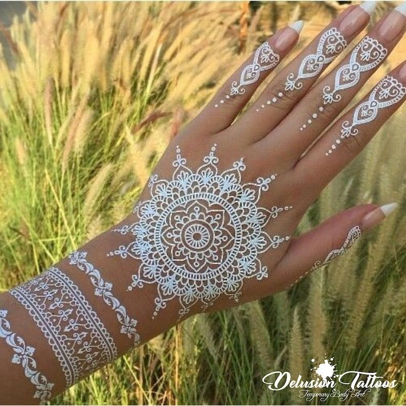 Henna Lace Realistic Temporary Tattoo Mandala Ornament Etsy