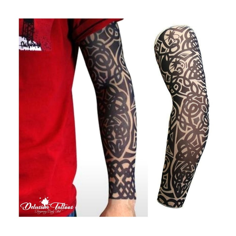 1 Pair Mix Styles Temporary Fake Slip Tattoo Arm Sleeves Body Art Arm Leg Stockings Drop Ship # Men's Arm Warmers