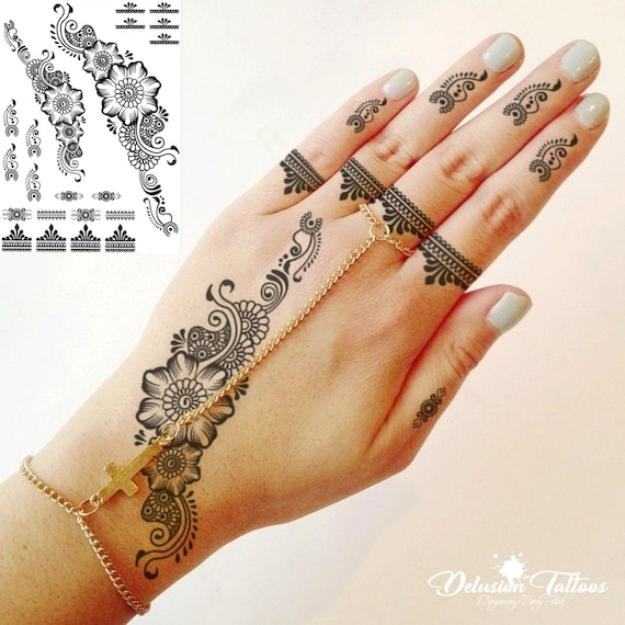 Henna Temporary Tattoo Sticker Transfer Black Henna