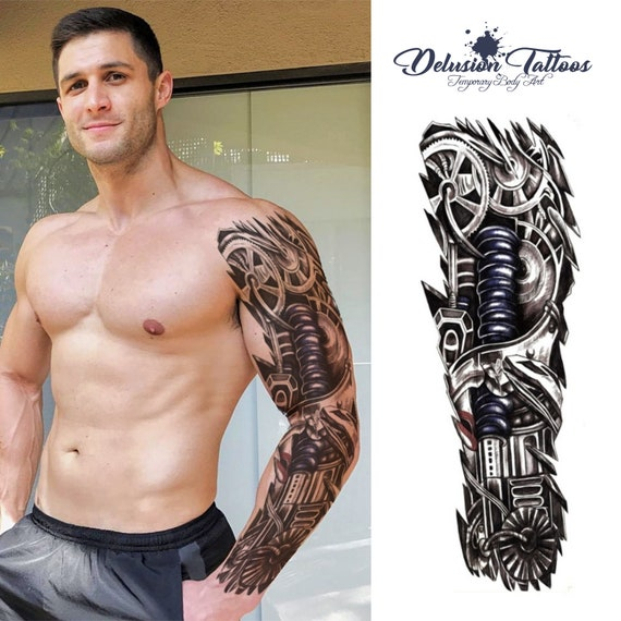 full arm sleeve realistic temporary tattoo mechanical