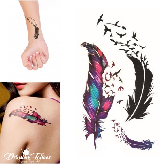 Birds of a Feather temporary tattoos set of 3 mock ear   Etsy
