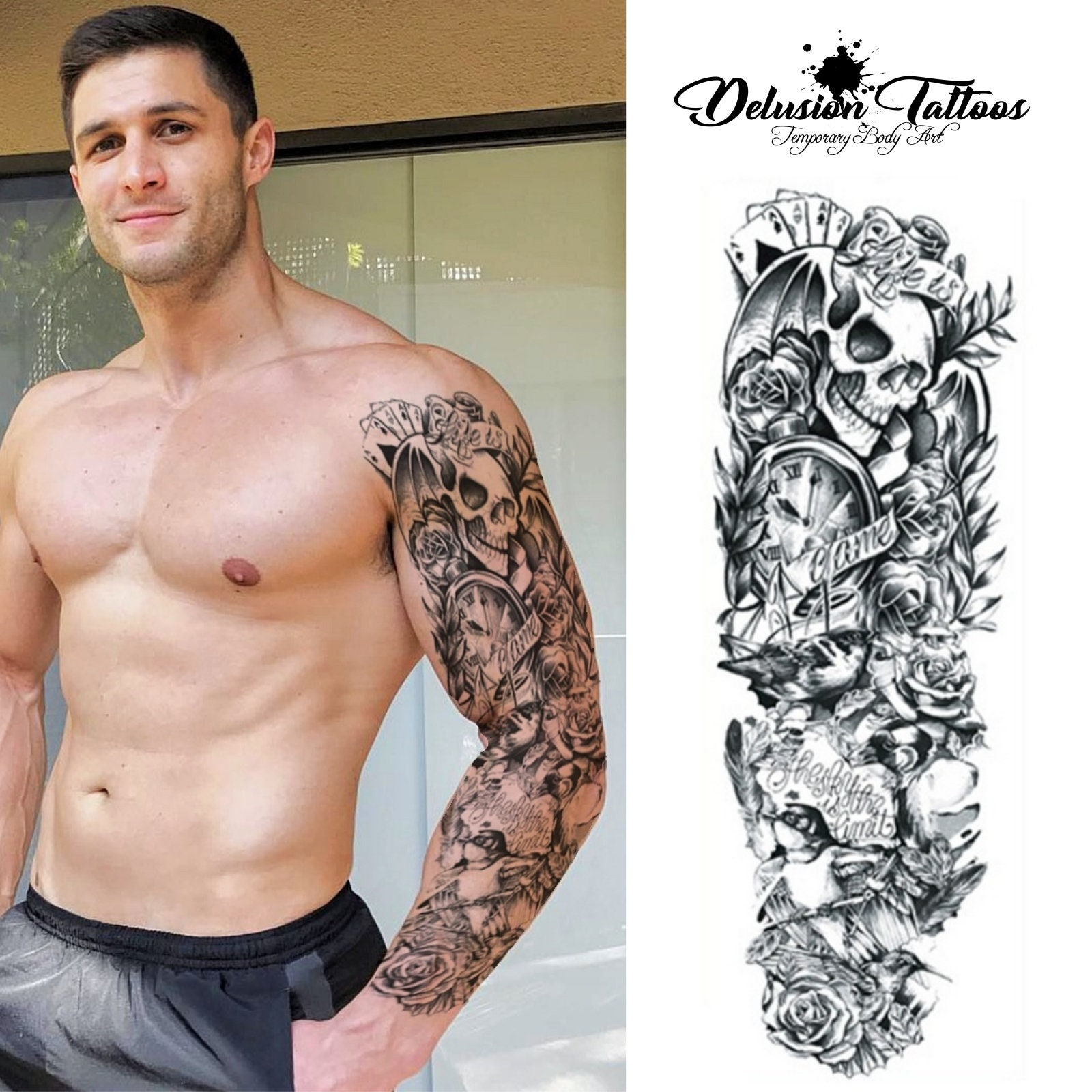 Henna Tattoo Temporary Cost: Full Arm Sleeve Realistic Temporary Tattoo Life Is A Game