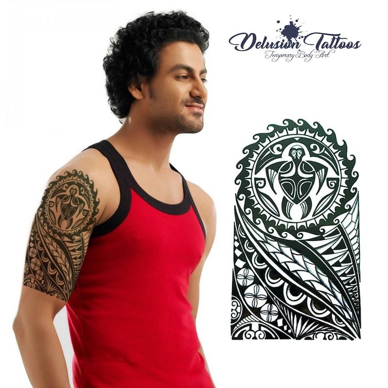 042fdaa6 Polynesian turtle temporary tattoo shoulder half sleeve | Etsy