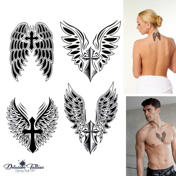 Angel Wings Cross Temporary Tattoo Set Of 4 Crucifix Etsy