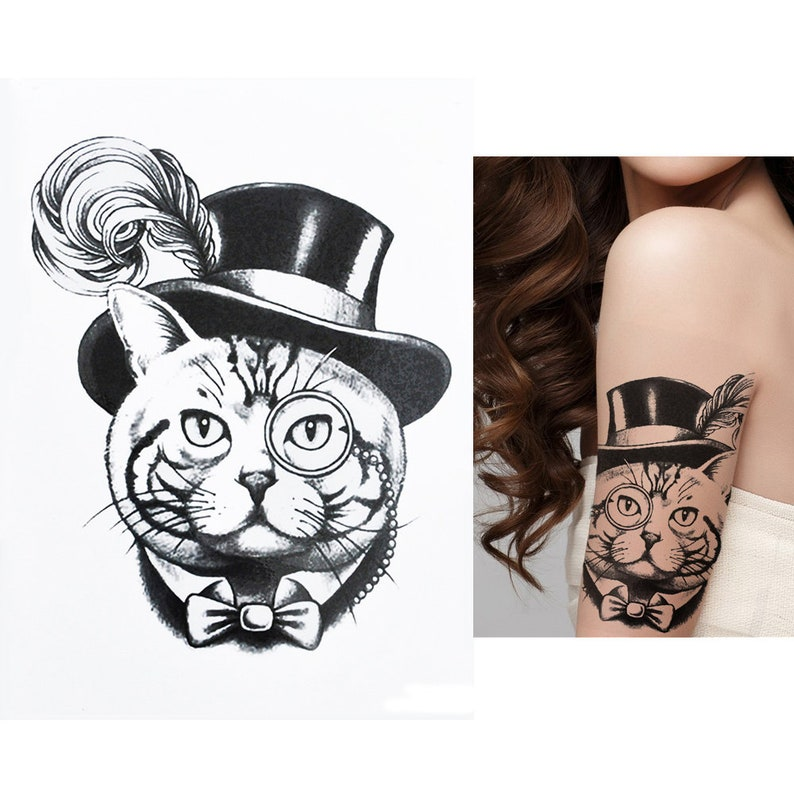aecc34ff66b Top Cat Temporary Tattoo, Feather, Hat, Monocle, Black, Waterproof, Mens,  Womens, Kids, Fake Tattoo Sticker Transfer