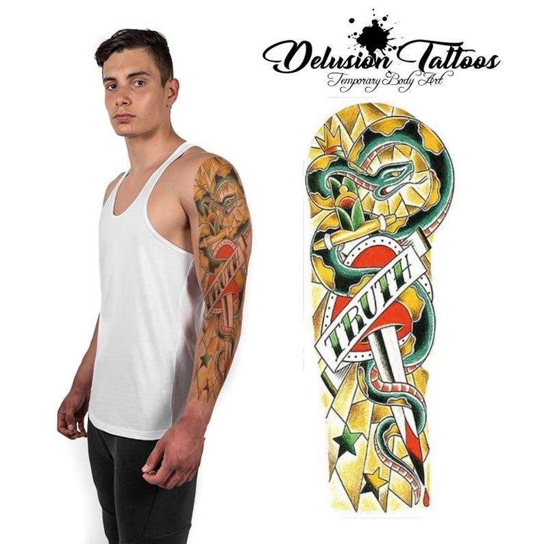 5f77d795e Full arm sleeve temporary tattoo TRUTH dagger heart snake | Etsy