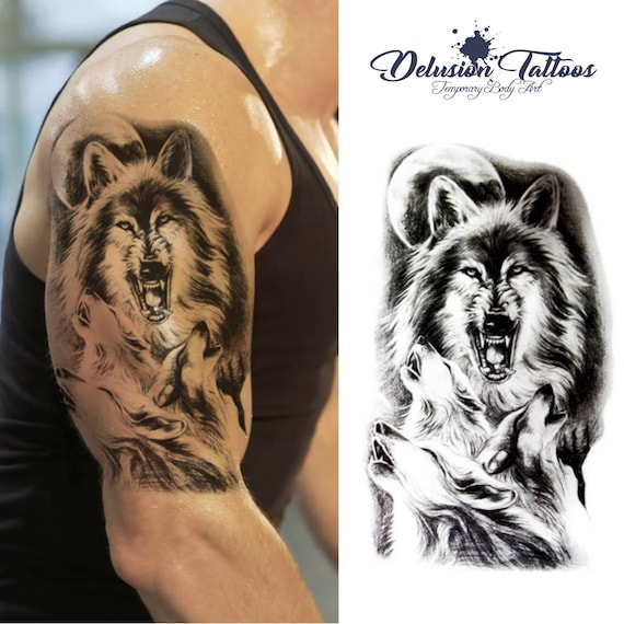Howling Wolf Wolves Temporary Tattoo Shoulder Half Sleeve Etsy