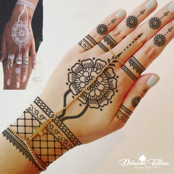 Henna Temporary Tattoo Sticker Transfer Black Henna White Etsy